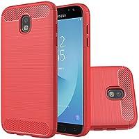 Samsung Galaxy j7 Proケース, Galaxy j730g/j730 Fケース、超薄軽量ケース柔軟なTpuバンパーカーボンファイバー衝撃吸収スリムフィットバックカバーfor Galaxy j730 2017