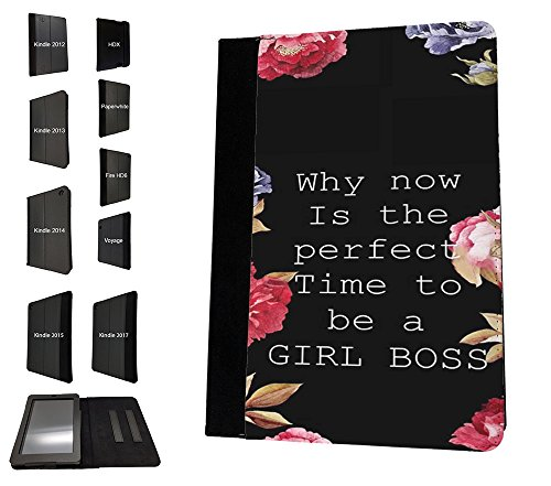 003812 - Girl Boss Quote And Flowers Design Amazon Kindle Fire HD 8 (2017) レザー手帳型ケース ダイアリト スタンド 財布型