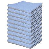【まとめ買いセット】綿100% フェイスタオル 青10枚組 35×80cm