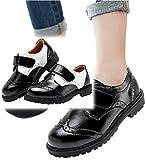 (メリット)mertto 男の子 フォーマル 靴 キッズ シューズ マジックテープ で 履きやすい ローファー 結婚式 七五三 冠婚葬祭 デッキシューズ 黒 エナメル 子供 くつ b032 (19.5cm, ホワイト×ブラック)