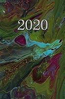 2020: Agenda - Planificateur Hebdomadaire et Mensuel -   Agenda semainier  2020 -   Calendrier des semaines 2020  - 20 pages Adresses - 12 pages relevé de temps - Vert Marbré