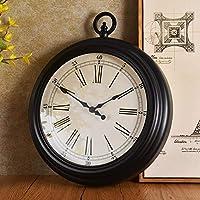 KAAK 表アメリカの時計表をハンギングブラック北欧のシンプルなレトロなリビングルームミュート壁掛け時計ヨーロッパの懐中時計マットベッドルーム370 * 430(MM) 暖かいホーム