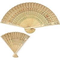 Funnytoday365 Vintage Folding Bamboo Original Wooden Carved Hand Fan Wedding Bridal Party 20Cm
