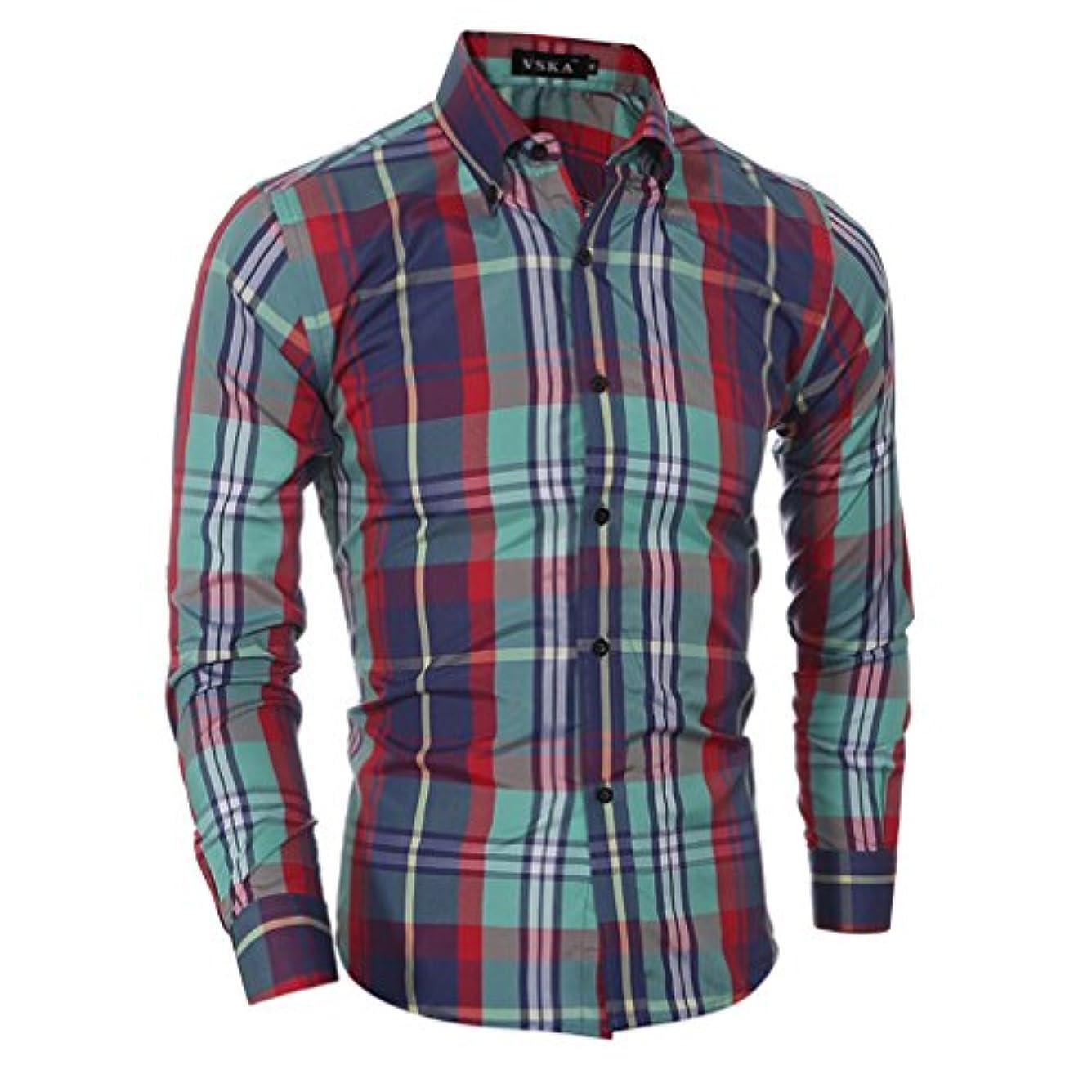 または書き込みオデュッセウスHonghu メンズ シャツ 長袖 チェック柄 カジュアル チェック柄 レッドグリーン 2XL 1PC