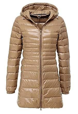 (ホンタ)HONTA レデイース秋冬軽いと薄いダウンジャケット、無地 長袖 高品質フェザーのやわらか素材フード付きコート、暖かいロングコート、プラスサイズ カーキ