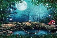 オールドキャッスル バックドロップ 魅力的なダークフォレスト ワンダーランド プリンセス シークレットガーデン 月の怖い夜の裏庭 池のビッグツリー シンデレラ 木のプリント生地 背景 12' wide by 8' tall GJ-25