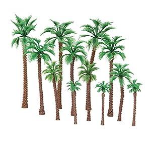 【ノーブランド品】鉄道模型 箱庭用 プラスチック製 ストラクチャー 鉄道 風景 椰子の木 6-11cm 4サイズミックス 12本
