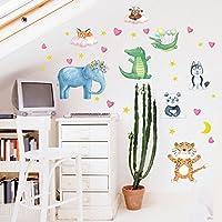 Weaeo 森のジャングルの野生動物の子供の部屋の壁のステッカーの壁画ショップストアウィンドウの家の装飾のポスター子供女の子男の子のギフトのために壁のステッカー