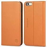 edbfb8cbcc iPhone6s ケース / iPhone6 ケース 手帳型 SHIELDON 本革 カバー TPU カードポケット スタンド機能 マグネット式  アイフォン6s / 6 用 財布型 カバー 4.7インチ対応 ...
