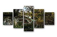 イングランドノーザンプトンシャーボート湖の森の木 - アートパネル 壁掛け絵画 インテリアアート キャンバス 現代 壁飾り 部屋飾り 壁ポスター 絵画 玄関 おしゃれ モダン 壁掛け 雑貨 プレゼント ギフト アートフレーム おしゃれ 5枚セット (30x40cmx2,30x60cmx2,30x80cmx1)