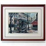 谷本ためひろ『パリのキオスク』ガッシュ、パステル・風景画・【パステル画】【B2898】
