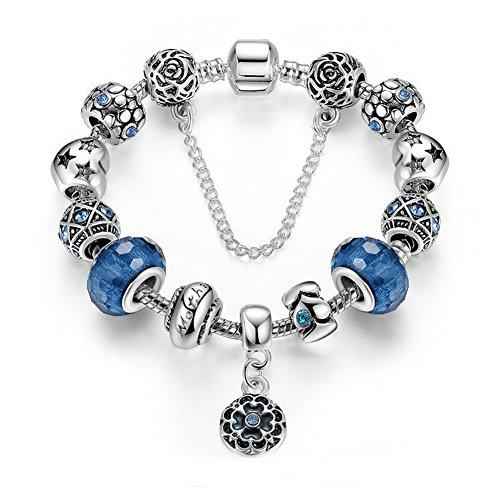 [해외]SZSMART 여성 팔찌 펜던트 블루 유리 구슬 매력 구슬 액세서리/SZSMART Ladies` Bracelet Pendant Blue Glass Ball Charm Beads Accessories