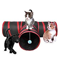 3 Way Cat Tunnel Creaker Collapsible Pet Toy Tunnel with Ball for Cat Puppy Kitty Kitten Rabbit (Red) [並行輸入品]