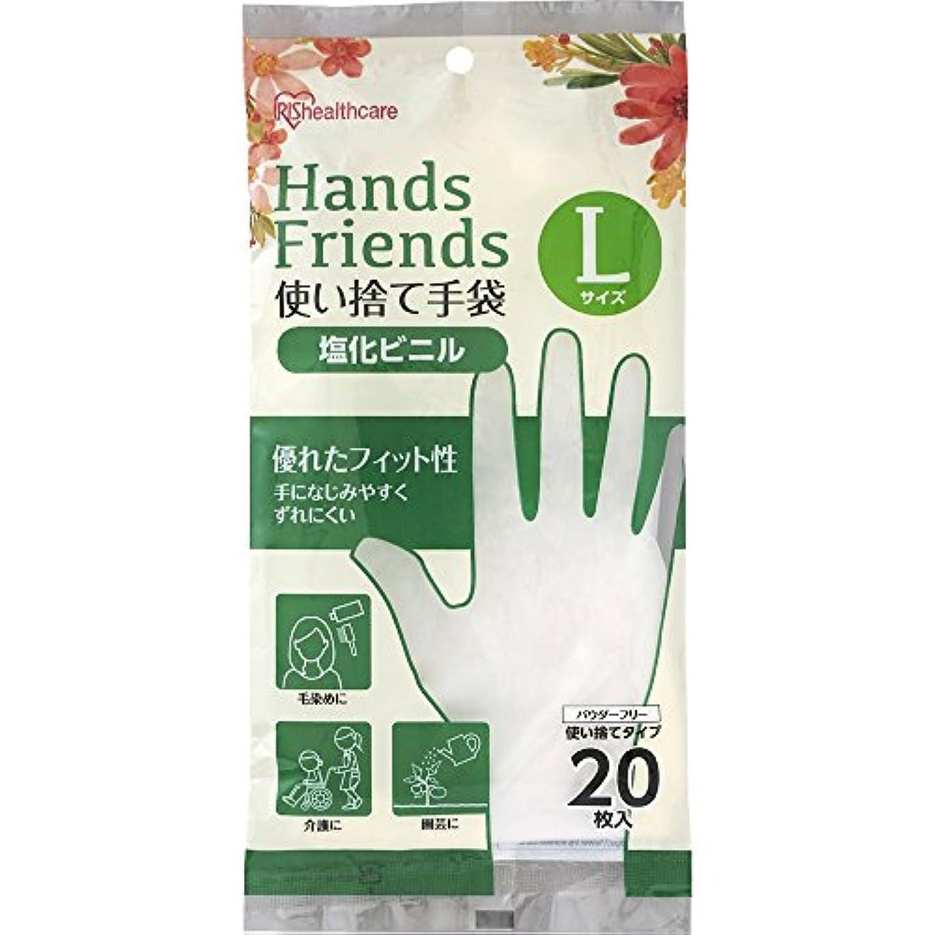 学校ブースト攻撃的使い捨て手袋 クリア 塩化ビニル 20枚 Lサイズ PVC-20L