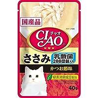 CIAO(チャオ) パウチ 乳酸菌入り ささみ かつお節味 40g×16袋【まとめ買い】