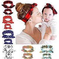 ウサギ耳伸縮ラティスヘアバンドリボン付き子供用ヘッドバンド(赤) 2pcs 67 * 75 ブルー 10073OPXK17LKCGWKMDMVGKS
