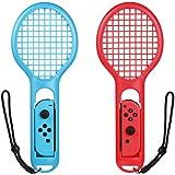 iAmer Nintendo Switch 用テニスゲームマリオテニスエースなどのテニスゲーム対応テニスラケットJoy-Con用アタッチメント2つ付き(青と赤)、モーション・センシングゲーム 臨場感