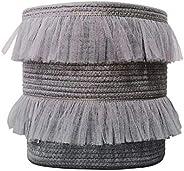 ILOVA Beautiful Lace Storage Basket Grey Set of 2 Toy Storage Decorative Cotton Rope Basket Baby Toy Basket Nu