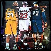 ジョーダン & コービー & レブロン 海外製 NBAグラフィックアートパネル 木製 壁掛け ポスター インテリア バスケットボールグッズ