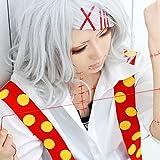 【ノーブランド品】東京喰種トーキョーグール 鈴屋 什造 すずや じゅうぞう風 コスプレウィッグ wig cosplay costume ショート シルバー(赤いヘアピン5個贈り) Sunny Corner