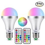 LED電球 E26/E27口金 60W相当 調光調色可能 普段照明用 昼白色 装飾照明多彩電球 RGBW リモコン操作 省エネ 長寿命 【2個入り】