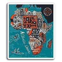 2×10センチメートルアフリカアフリカ地図ビニールステッカー - ステッカーデカールノートパソコンの荷物の#19426(10センチメートルトール)