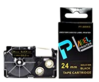 カシオ ネームランド用 互換 テープカートリッジ 24mm XR-24BKG 黒地金文字