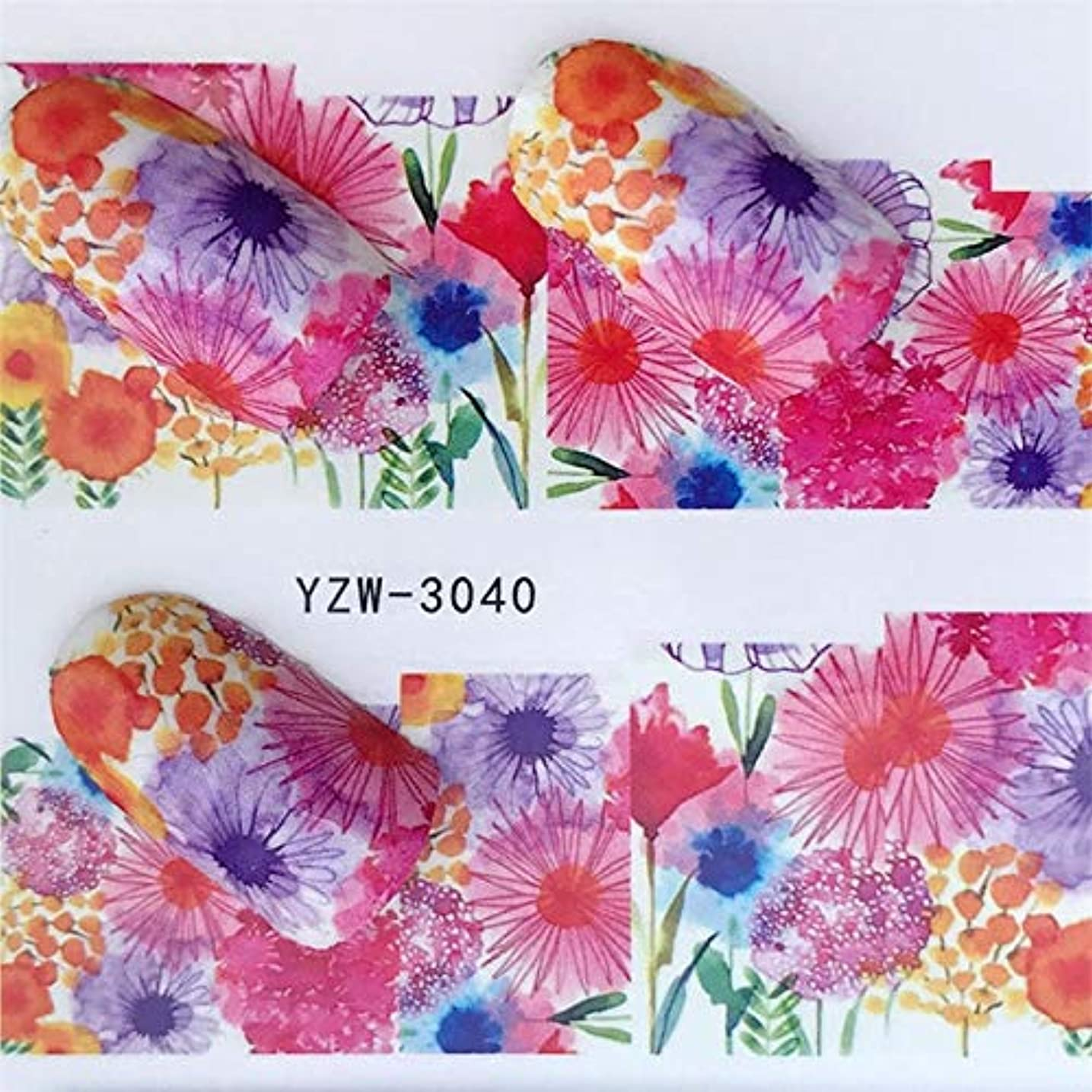 きょうだい全く植物のCELINEZL CELINEZL 5 PCSウォータートランスファーステッカーデカールフラワーステッカーネイル用、色:YZW-3040