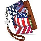 パスケース リール付き USA 国旗 かっこいい 格好いい 世界 の 国旗 アイスランド 定期入れ 二つ折り 2枚 3枚 4枚 カードケース カード入れ メンズ