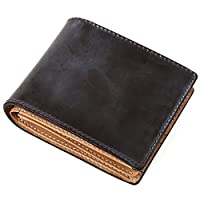b4c305d93140 (ラファエロ) Raffaello 一流の革職人が作る ブライドルレザーで製作したメンズ二つ折財布 (ダークチョコ)