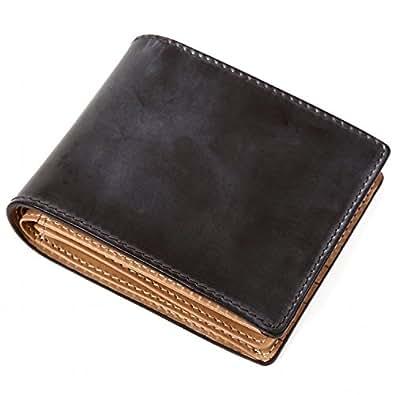 (ラファエロ) Raffaello 一流の革職人が作る ブライドルレザーで製作したメンズ二つ折財布 (ダークチョコ)
