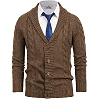Paul Jones Men's Shawl Collar Cardigan Button Front Long Sleeve Cable Sweater