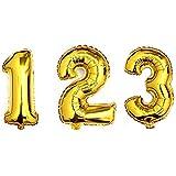 【EDEN】1歳 2歳 3歳 の お祝い 誕生日 記念写真 『驚きの高さ 約1メーター数字バルーン 123セット』 ゴールド(空気入ストロー3本付)[E102]