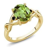 Gem Stone King 1.86カラット 天然石 ペリドット 天然ブラックダイヤモンド シルバー925 イエローゴールドコーティング 指輪 リング