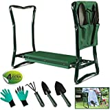 Garden Kneeler Stool Seat and Foam Pad Bench 2in1 Portable Folding Gardener Knee Protector with Handles Tool Bag and 3 Gardening Tools
