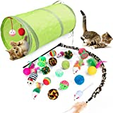 Cat Toys Kitten Toys Assortments 21 Pcs, Green 2 Way Tunnel, Colorful Balls/Drum/Mouse/Feathered Golf Balls and A Leopard Pri