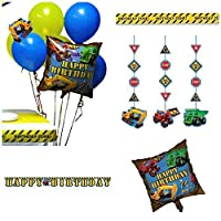 Under Construction Party Themed Decorations Kit - Banner, Hanging Decorations, Zone Warning Tape and Balloons - Birthday Boy Bundle by Heartfelt Gifts
