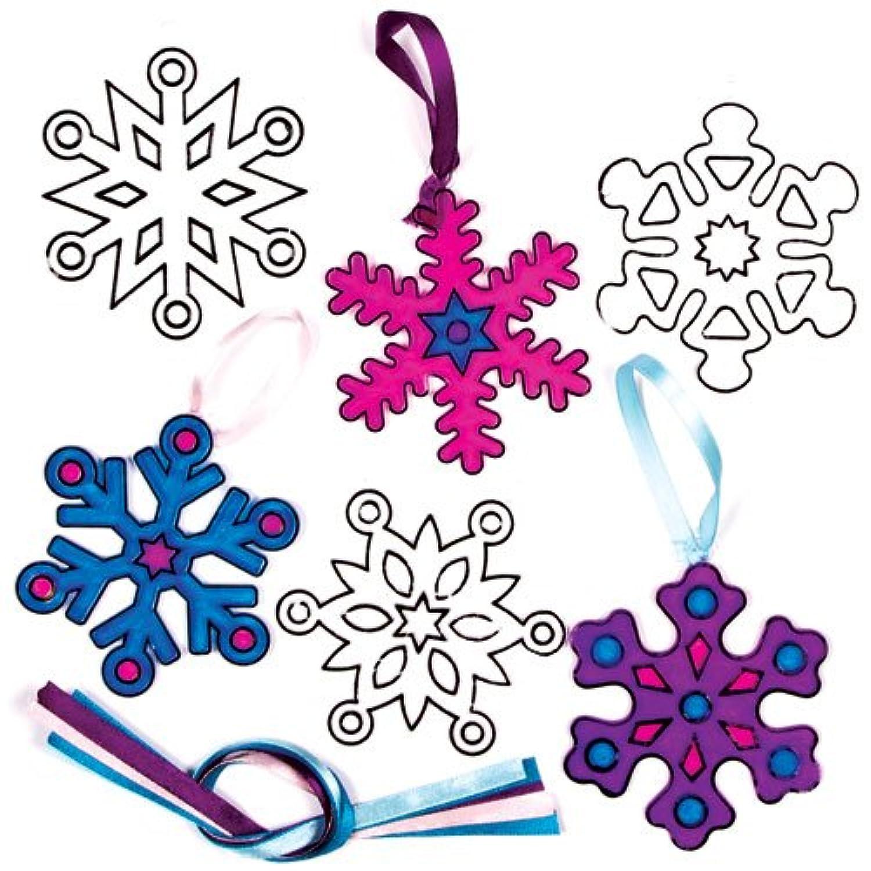 クリスマス スノーフレーク アクリル ぬりえ サンキャッチャー オーナメント(6個入り) 自分だけのオリジナルを作ろう