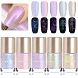 NICOLE DIARY Mermaid Chrome Nail Polish Pearl Shimmer Stamping Polish Shell Shiny Glitter 2 in 1 Nail Art Lacquer for DIY Manicure Decoration (5 colors)