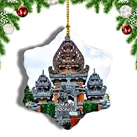 Weekinoミニチュアパークジャカルタのインドネシアクリスマスオーナメントクリスマスツリーペンダントデコレーション旅行お土産コレクション陶器両面デザイン3インチ