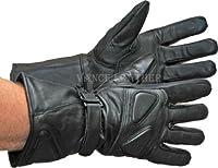オールレザー プレミアムパッド入りオートバイ用手袋 スノーモービルグローブ M ブラック SVL419-M