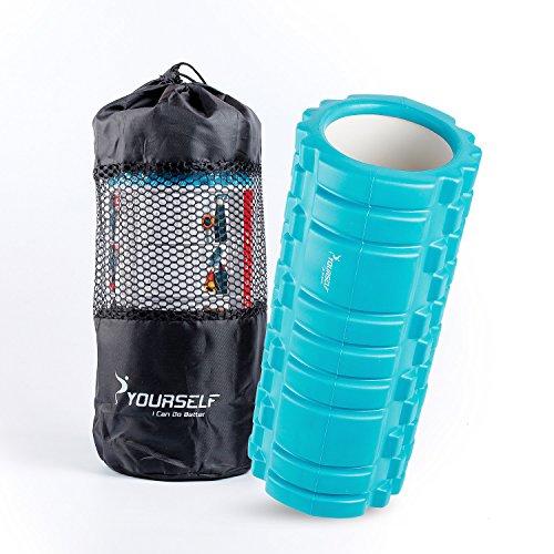 Syourself マッサージフォームローラー&Foam Roller-高弾力のEVAエコ素材、ストリガーポイント、グリッド、14cm×33cm、筋膜リリース、深部までマッサージ、物理療法、ヨガポール-フィットネス/エクササイズ/ダイエット/ヨガ/ピラティス/に最適、腰痛/肩コリ/筋肉痛を改善+専用ポーチ、説明書付 (アクア・ブルー)