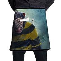 半身ハーフエプロン ゴリラ猿ペインティング ポケット付き カフェエプロン 男女共用 耐油性 防汚 飲食店 料理教室 厨房 業務用 ワーク作業