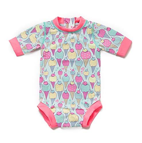c9df4e8f20fca Bonverano 水着 ベビー UPF50+ 日焼け止め UVカット ラッシュガード 女の子 半袖 0-3歳 赤ちゃん ワンピース (KJDX04  3-6M) Bonveranoは子供や大人の日焼け止めの ...