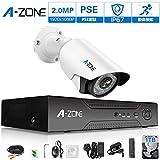 A-ZONE 200万画素タイプ 防犯カメラキット4CHレコーダー(1000GB内蔵)&1台防犯カメラ(最大4台カメラを増設可能)フルハイビジョン 防水IP67 ナイトビジョン屋内/屋外CCTV防犯、監視カメラ、iPhone Android スマホ PC 遠隔監視 対応 (1TB HDD付き)