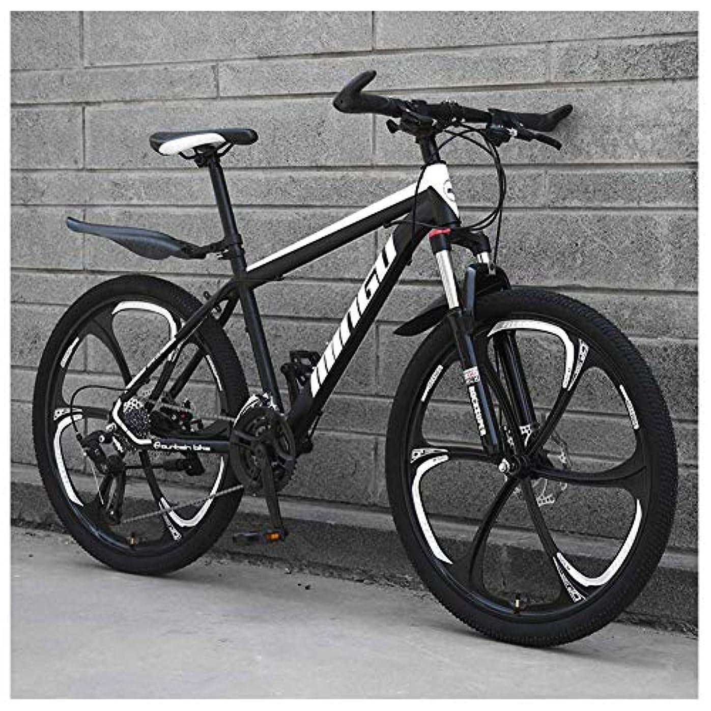 歴史ジェーンオースティン立方体24インチマウンテンバイク、メンズレディースカーボンスチール自転車、30スピードドライブトレインデュアルディスクブレーキ付きオールテレーンマウンテンバイク、24Vitesses、ブラック6スポーク