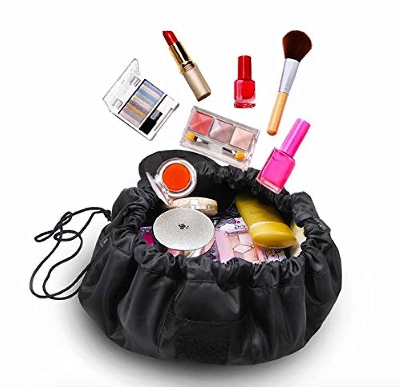 心理的に頬骨フォーマット大容量 防水化粧品収納バッグ 折り畳み 外泊 出張 持ち運び旅行収納 (黒)
