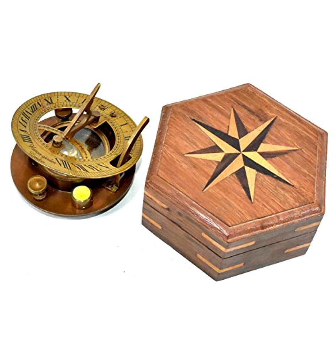 コントロールやろうスナックHNS 真鍮 - ユニアルコンパス - 海外用真鍮ポケットコンパス 木製ボックス付き