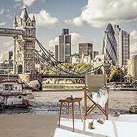 Clamsxgus 写真壁紙ロンドン市川テムズ川壁画風景研究ベッドルームリビングルームテレビ背景壁紙-400X280Cm