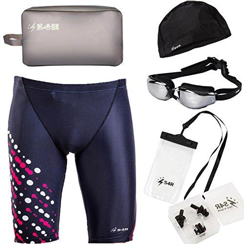 S4R(エスフォーアール) メンズ 競泳水着 6点 セット [ フィットネス水着 ゴーグル スイムキャップ スイムバッグ スマホケース 耳栓 鼻栓 ] 高品質 水着 6点セット (dot M)